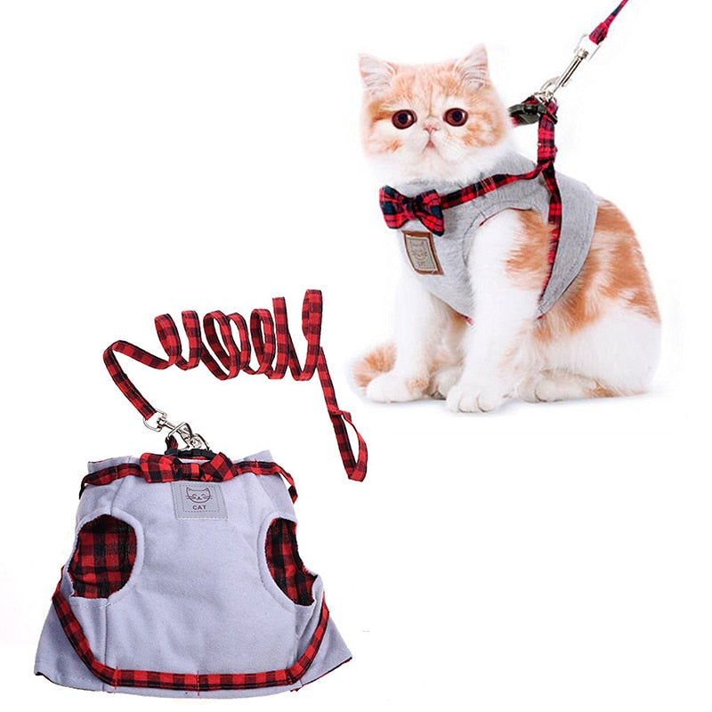 Vest Leash Set Plaid Bow Tie Cat Collar-Collars, Harnesses & Leashes-petsoftcare-petsoftcare
