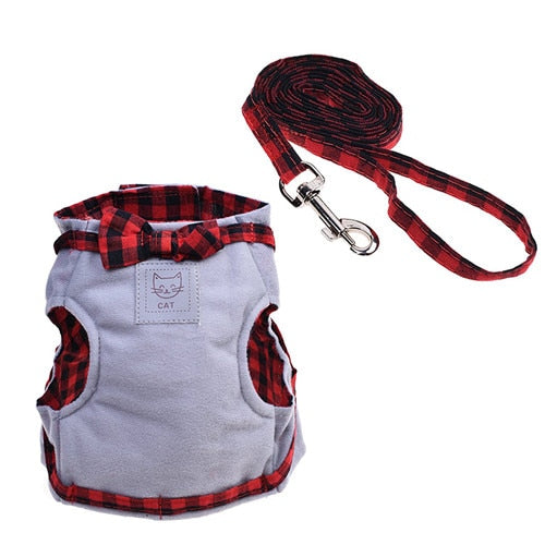 Vest Leash Set Plaid Bow Tie Cat Collar-Collars, Harnesses & Leashes-petsoftcare-grey-L-petsoftcare
