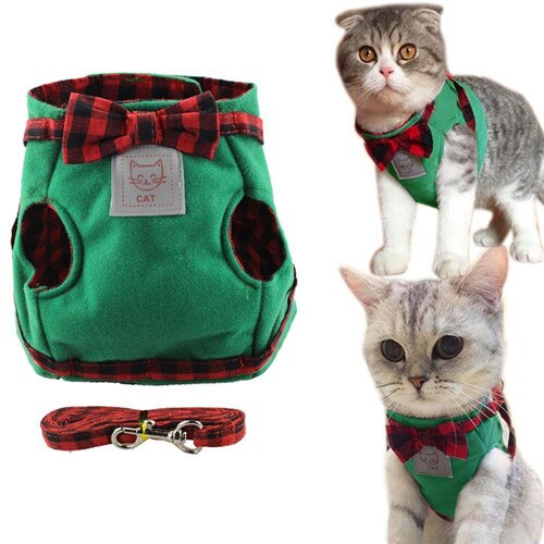 Vest Leash Set Plaid Bow Tie Cat Collar-Collars, Harnesses & Leashes-petsoftcare-green-L-petsoftcare