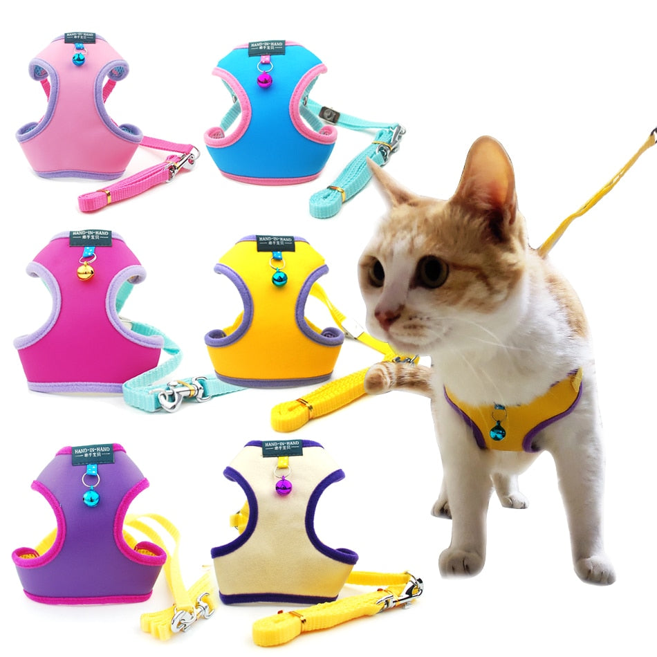 Walking Leash Vest Adjustable Harness with Bell-Collars, Harnesses & Leashes-petsoftcare-petsoftcare