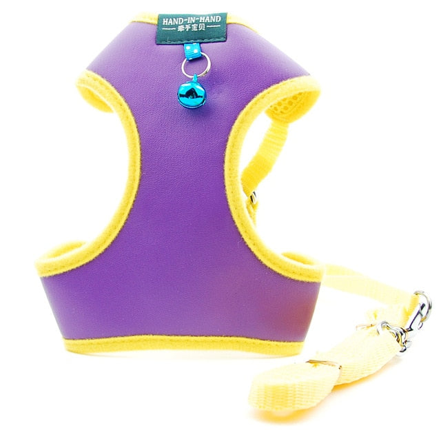 Walking Leash Vest Adjustable Harness with Bell-Collars, Harnesses & Leashes-petsoftcare-Purple Sets-S-petsoftcare