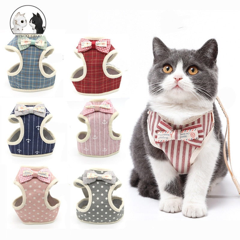 Cute dog Cat Harness and Leash Set-Collars, Harnesses & Leashes-petsoftcare-petsoftcare