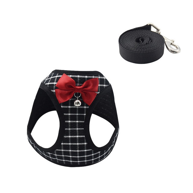 Cat Dog Harness Vest With Lead Leash-Cat collars-petsoftcare-Black B-S-petsoftcare