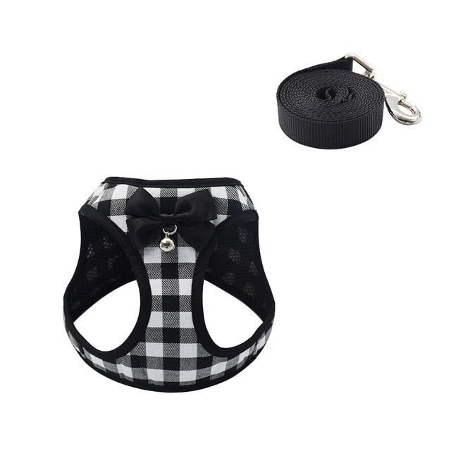 Cat Dog Harness Vest With Lead Leash-Cat collars-petsoftcare-Black A-L-petsoftcare