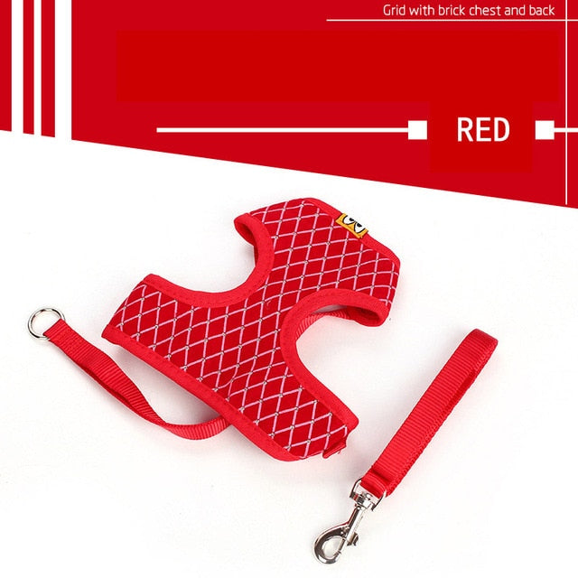 Cat Harness And Leash Set Breathable Adjustable-Cat collars-petsoftcare-Red-L-petsoftcare