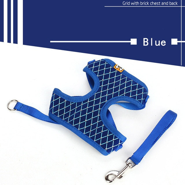 Cat Harness And Leash Set Breathable Adjustable-Cat collars-petsoftcare-Blue-L-petsoftcare