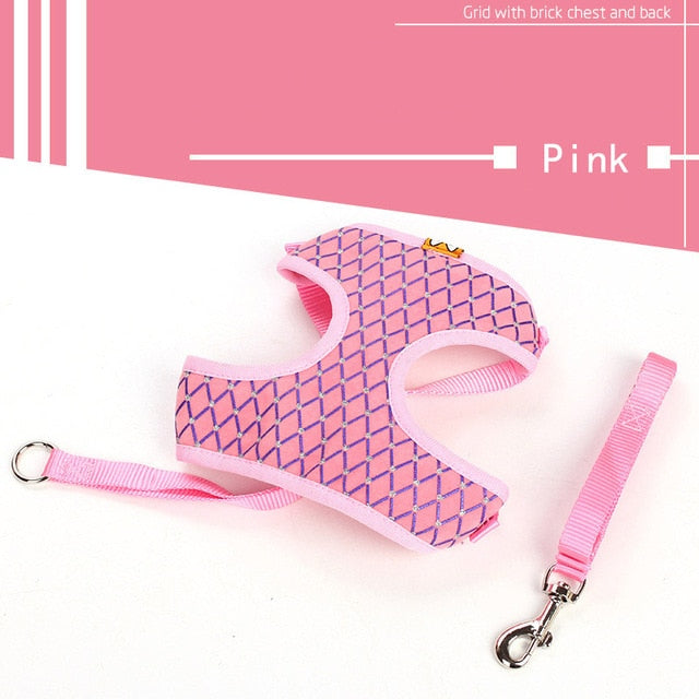 Cat Harness And Leash Set Breathable Adjustable-Cat collars-petsoftcare-Pink-L-petsoftcare