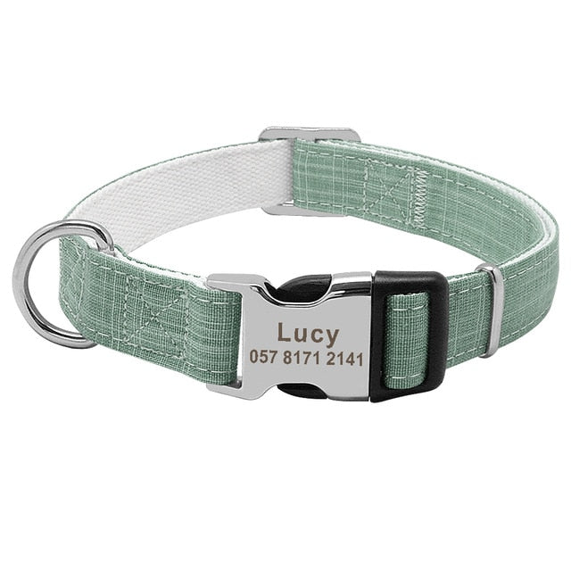 Custom Fashion Nylon Personalized Dog Collar-Collars, Harnesses & Leashes-petsoftcare-Green-L-petsoftcare