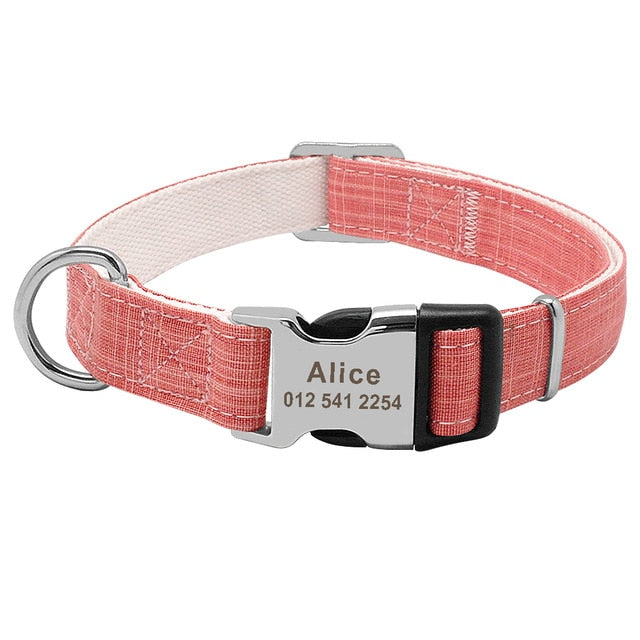 Custom Fashion Nylon Personalized Dog Collar-Collars, Harnesses & Leashes-petsoftcare-Pink-L-petsoftcare