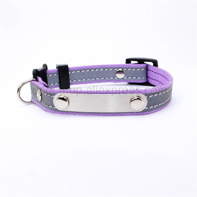 Personalized Cat Lettering Collar Reflective-Cat collars-petsoftcare-Purple-free(name-phone NO.)-petsoftcare