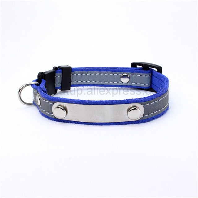 Personalized Cat Lettering Collar Reflective-Cat collars-petsoftcare-Navy Blue-free(name-phone NO.)-petsoftcare