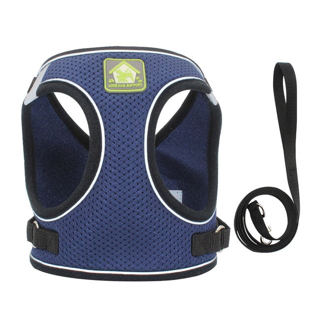 Nylon Mesh Puppy Cat Harnesses Vest-Collars, Harnesses & Leashes-petsoftcare-deep blue-s-petsoftcare