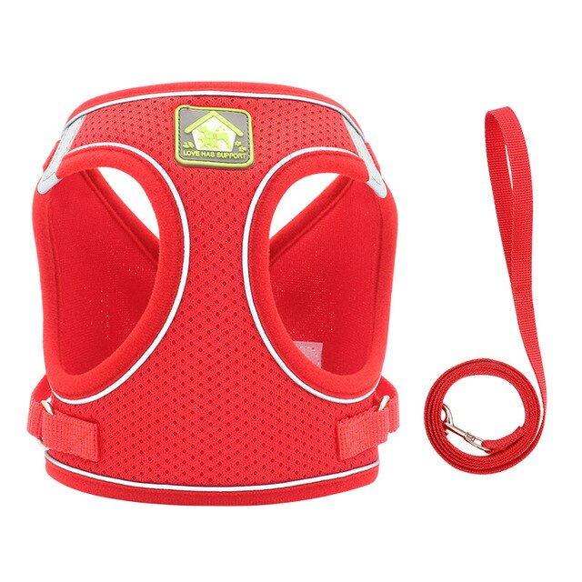 Nylon Mesh Puppy Cat Harnesses Vest-Collars, Harnesses & Leashes-petsoftcare-red-s-petsoftcare