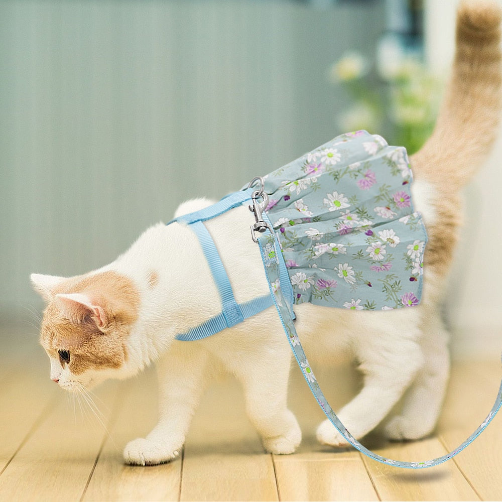 Dog Cat Adjustable Floral Printed Pet Harness Vest Dress-Collars, Harnesses & Leashes-petsoftcare-petsoftcare