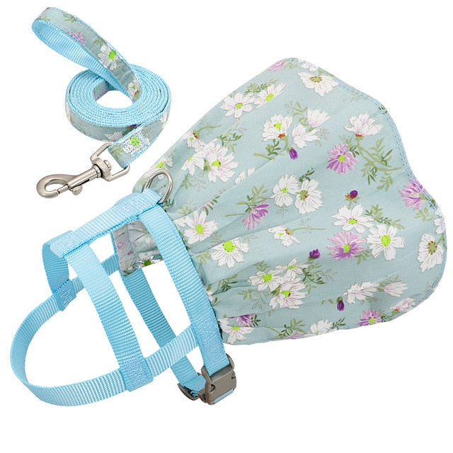 Dog Cat Adjustable Floral Printed Pet Harness Vest Dress-Collars, Harnesses & Leashes-petsoftcare-Light Blue-M-petsoftcare