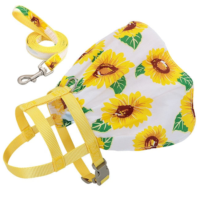Dog Cat Adjustable Floral Printed Pet Harness Vest Dress-Collars, Harnesses & Leashes-petsoftcare-Yellow-S-petsoftcare