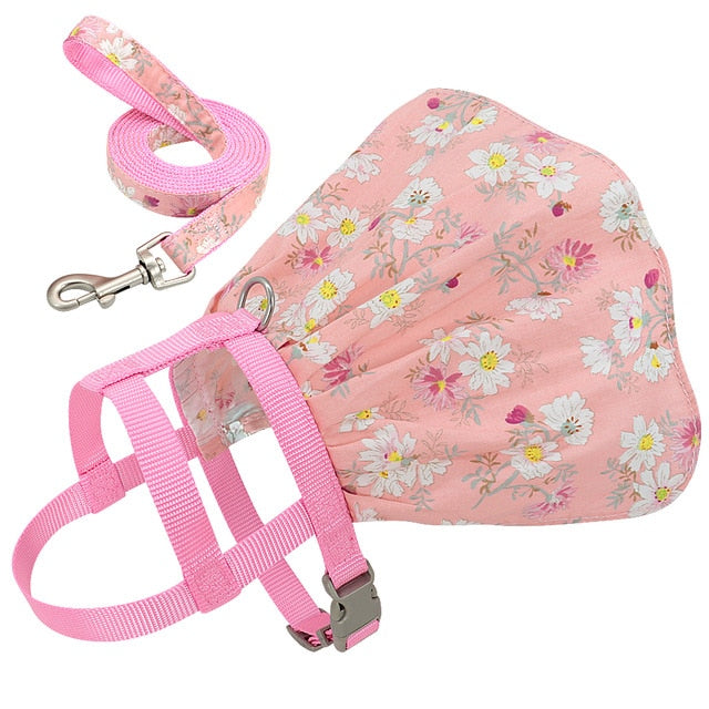 Dog Cat Adjustable Floral Printed Pet Harness Vest Dress-Collars, Harnesses & Leashes-petsoftcare-Pink-M-petsoftcare