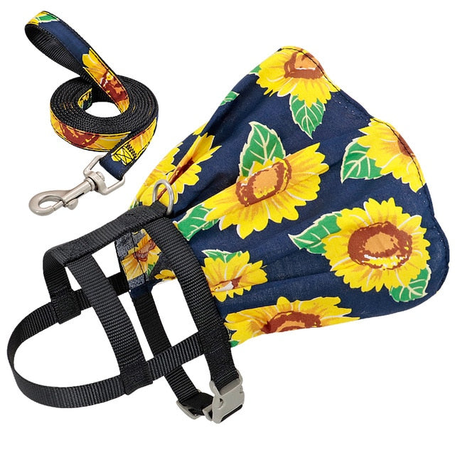 Dog Cat Adjustable Floral Printed Pet Harness Vest Dress-Collars, Harnesses & Leashes-petsoftcare-Navy Blue-S-petsoftcare