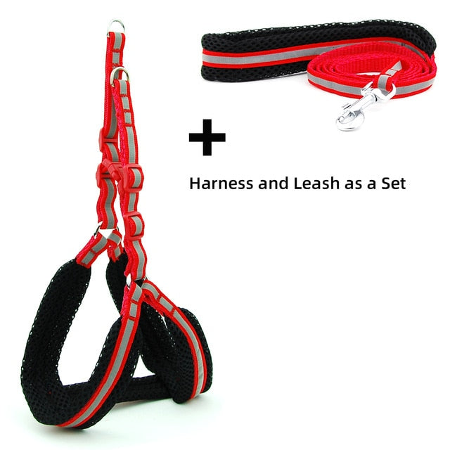 Dog Cat Harness Vest Reflective Breathable Mesh-Collars, Harnesses & Leashes-petsoftcare-Red Sets-M-petsoftcare