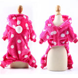 Dog Clothes Pajamas Fleece Jumpsuit Winter-Dog apparel-petsoftcare-Rose Red-XS-petsoftcare