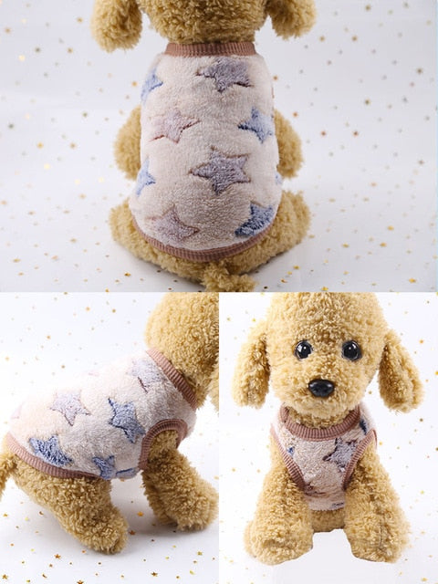 Dog Clothes Pajamas Fleece Jumpsuit Winter-Dog apparel-petsoftcare-vest brown-XXS-petsoftcare