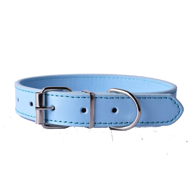 Fashion 8Colors Pu Leather Pet Dog Collar-Collars, Harnesses & Leashes-petsoftcare-Blue-XS-petsoftcare