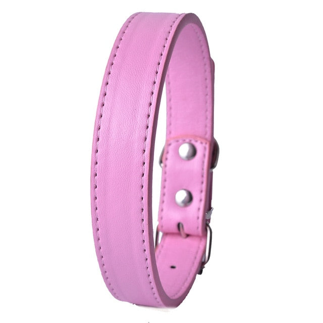 Fashion 8Colors Pu Leather Pet Dog Collar-Collars, Harnesses & Leashes-petsoftcare-Pink-XS-petsoftcare