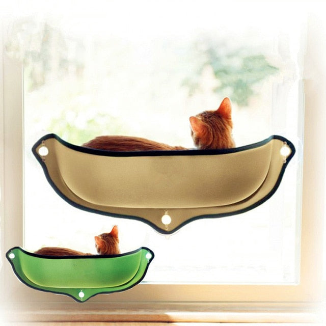 Cat Hammock Bed Window Pod Lounger Suction Cups-Cat bed-petsoftcare-khaki-petsoftcare