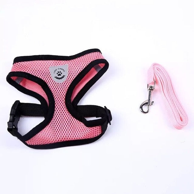 Cat Dog Adjustable Harness Vest Walking Lead Leash-Collars, Harnesses & Leashes-petsoftcare-Pink-S-petsoftcare