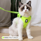 Cat Harness and Leash Set Breathable Rope Vest-Cat collars-petsoftcare-Fruit Green-L-petsoftcare