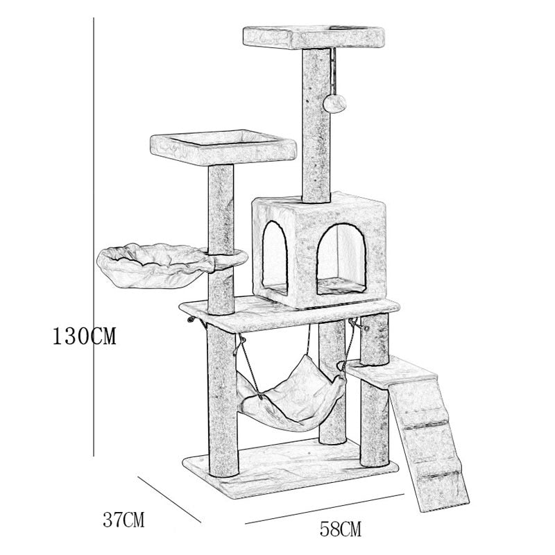 Cat Tree Condo Sisal Scratching Posts Perches Houses-Cat Trees & Condons-petsoftcare-petsoftcare