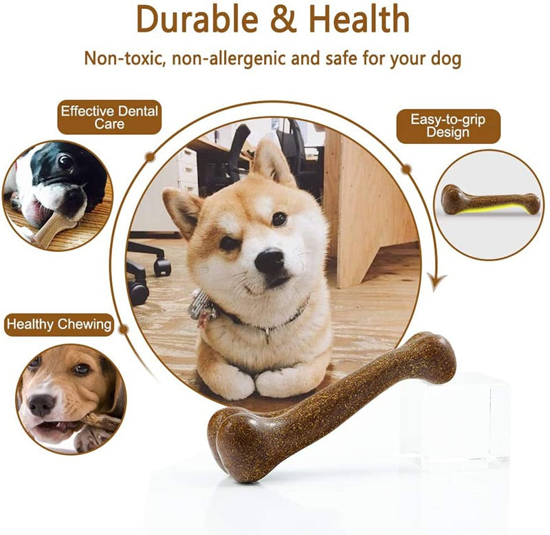 Nearly Indestructible Dog Bone Natural Non-Toxic Puppy Toys Dental Care