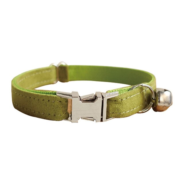 Pet Cat Collar Cute Designer Safety With Bell And Metal Button-Collars, Harnesses & Leashes-petsoftcare-Green-L-petsoftcare