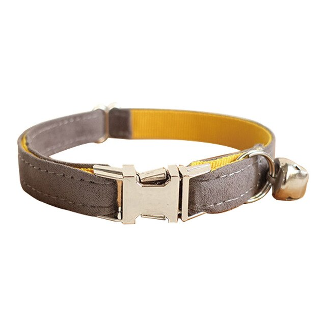 Pet Cat Collar Cute Designer Safety With Bell And Metal Button-Collars, Harnesses & Leashes-petsoftcare-Grey-s-petsoftcare