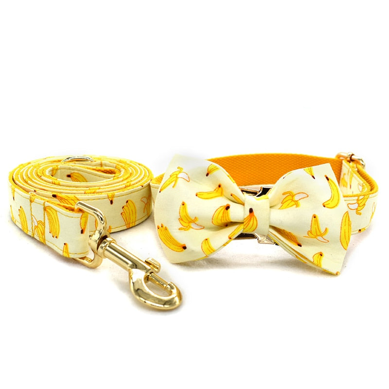 Dog Collar Leash With Bow Tie Banana Design Gold Metal Buckles Adjustable-Collars, Harnesses & Leashes-petsoftcare-petsoftcare
