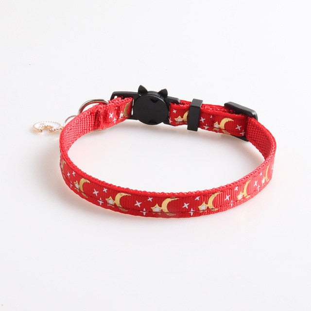 Cute Moon Star Print Dog Collar-Cat collars-petsoftcare-red-petsoftcare