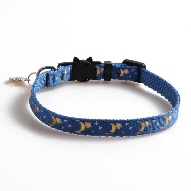 Cute Moon Star Print Dog Collar-Cat collars-petsoftcare-blue-petsoftcare