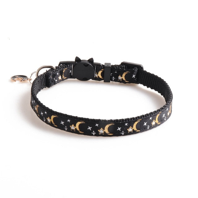 Cute Moon Star Print Dog Collar-Cat collars-petsoftcare-black-petsoftcare