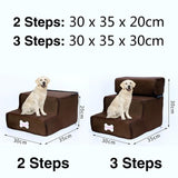 3 Steps Stairs Anti-slip Removable Pet-Dog beds-petsoftcare-Coffee-2 Steps-petsoftcare