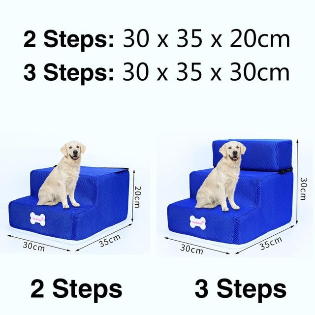 3 Steps Stairs Anti-slip Removable Pet-Dog beds-petsoftcare-Blue-3 Steps-petsoftcare