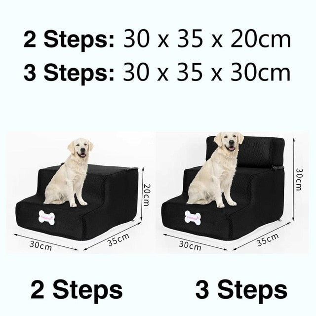 3 Steps Stairs Anti-slip Removable Pet-Dog beds-petsoftcare-Black-3 Steps-petsoftcare