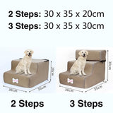 3 Steps Stairs Anti-slip Removable Pet-Dog beds-petsoftcare-Khaki-3 Steps-petsoftcare