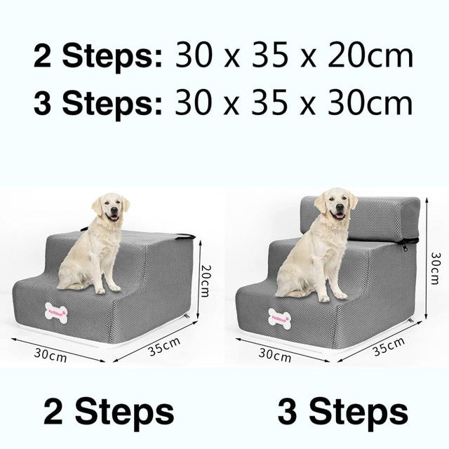 3 Steps Stairs Anti-slip Removable Pet-Dog beds-petsoftcare-Gray-3 Steps-petsoftcare