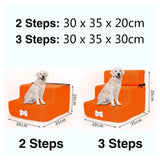 3 Steps Stairs Anti-slip Removable Pet-Dog beds-petsoftcare-Orange-3 Steps-petsoftcare