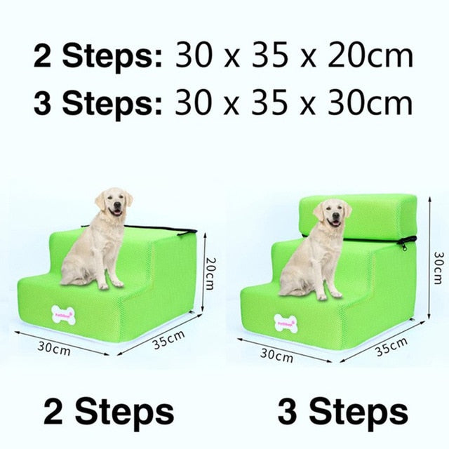 3 Steps Stairs Anti-slip Removable Pet-Dog beds-petsoftcare-Green-3 Steps-petsoftcare