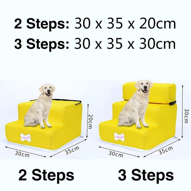 3 Steps Stairs Anti-slip Removable Pet-Dog beds-petsoftcare-Yellow-3 Steps-petsoftcare