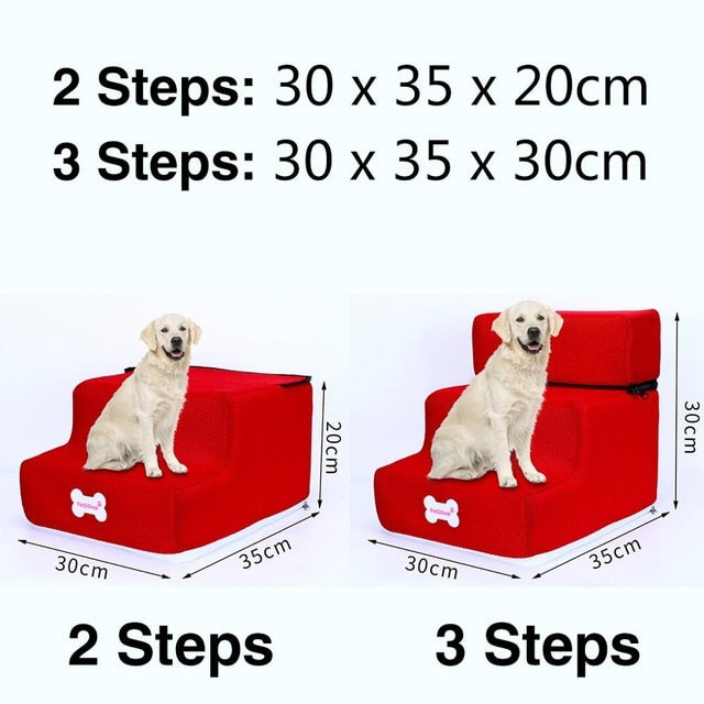3 Steps Stairs Anti-slip Removable Pet-Dog beds-petsoftcare-Red-2 Steps-petsoftcare