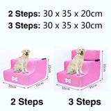 3 Steps Stairs Anti-slip Removable Pet-Dog beds-petsoftcare-Pink-3 Steps-petsoftcare