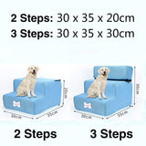 3 Steps Stairs Anti-slip Removable Pet-Dog beds-petsoftcare-Light blue-3 Steps-petsoftcare