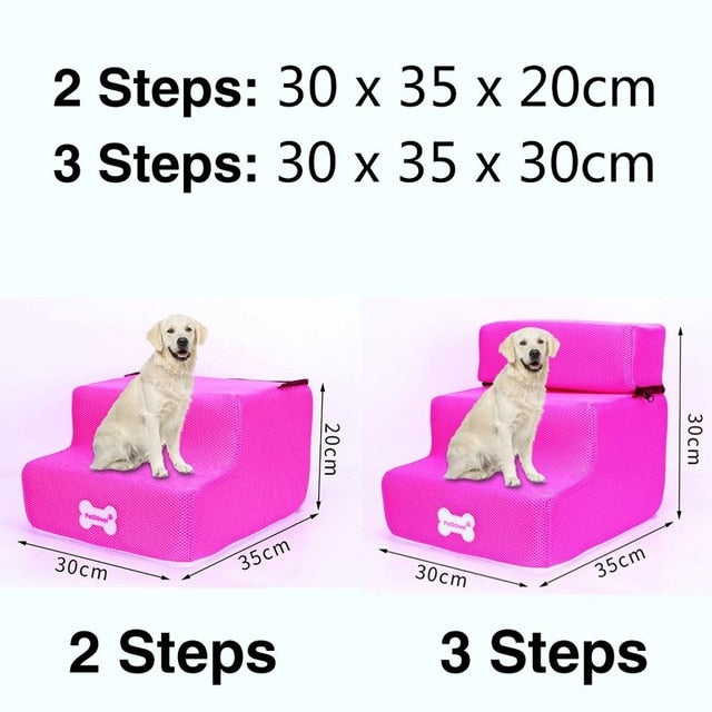 3 Steps Stairs Anti-slip Removable Pet-Dog beds-petsoftcare-Rose-3 Steps-petsoftcare